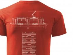 Červené triko s výkresem tramvaje ČKD Tatra T6A5