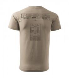 Béžové triko s výkresem vozu metra Ečs