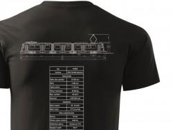 Černé triko s výkresem tramvaje ČKD Tatra KT8D5