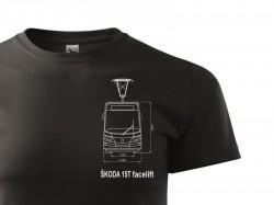 Černé triko s výkresem tramvaje Škoda 15T Facelift