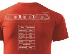 Červené triko s výkresem tramvaje Škoda 15T Facelift