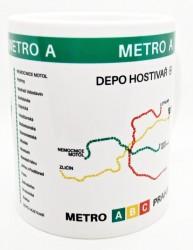 Hrnek s motivem linky metra A