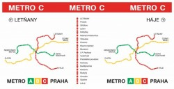 Hrnek s motivem linky metra C