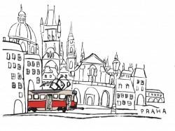 Bílé dětské triko s kreslenou tramvají T3 a Malou Stranou