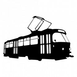 Rouška s potiskem 3D siluet tramvají ČKD Tatra T3