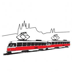 Hrnek s grafikou tramvaje T3 pod Pražským hradem