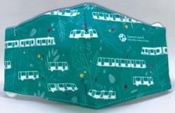 Dětská rouška se zeleným florálním motivem s vozy MHD
