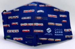 Modrá dětská rouška s pražskými muzejními vozy