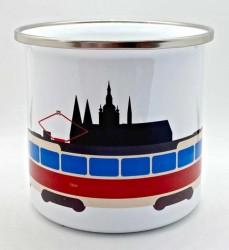 Plecháček s motivem tramvaje T3 a Pražského hradu