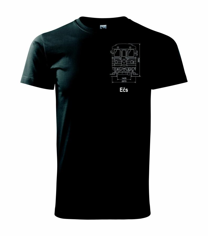 Černé triko s výkresem vozu metra Ečs