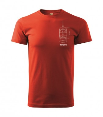 Červené triko s výkresem tramvaje ČKD Tatra T1