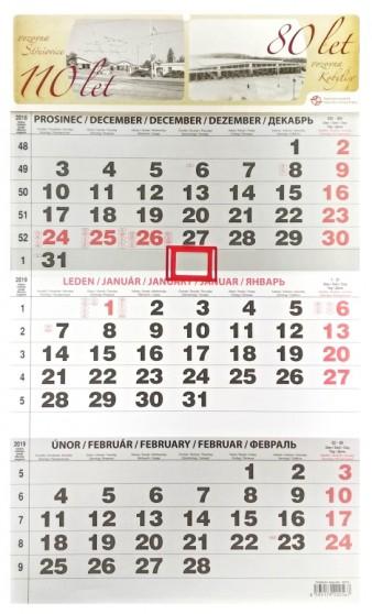 Nástěnný tříměsíční kalendář 2019