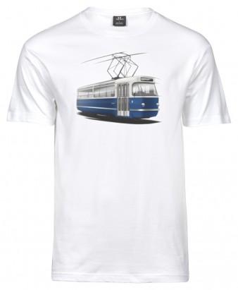 Pánské triko s grafikou tramvaje T3 Coupé (bílé)