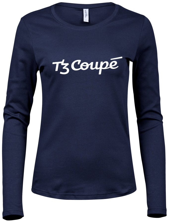 Dámské triko s logem tramvaje T3 Coupé (modré)