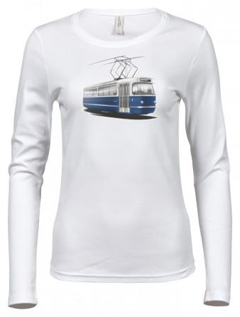 Dámské triko s grafikou tramvaje T3 Coupé (bílé)
