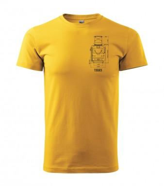 Žluté triko s výkresem tramvaje ČKD Tatra T3 SUCS