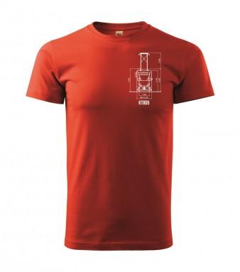 Červené triko s výkresem tramvaje ČKD Tatra KT8D5
