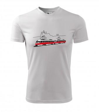 Sportovní triko s linkou 23 a siluetou Hradčan