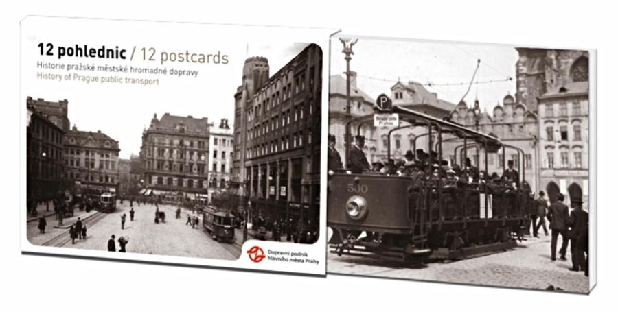 Sada 12 pohlednic – Historie pražské MHD