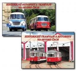 Historické autobusy a tramvaje na severu Čech – sada pohlednic
