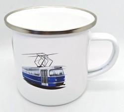 Plecháček s obrázkem a logem tramvaje T3 Coupé