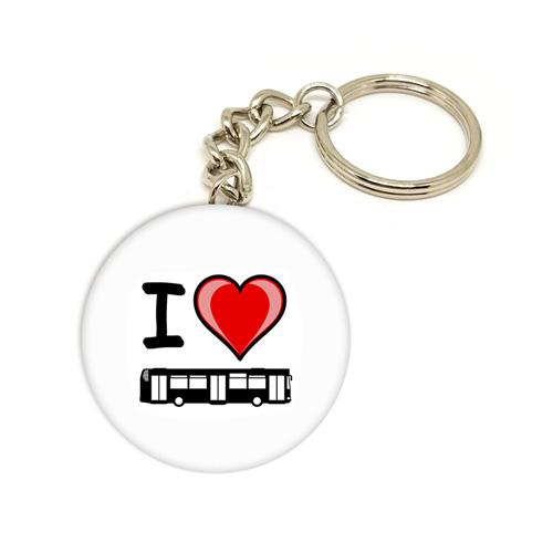 """Přívěsek na klíče """"I love bus"""""""