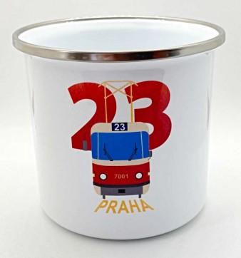Plecháček s motivem nostalgické linky 23