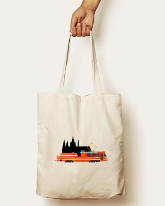 """Bavlněná taška s motivem """"Mazačky"""" a Pražským hradem"""