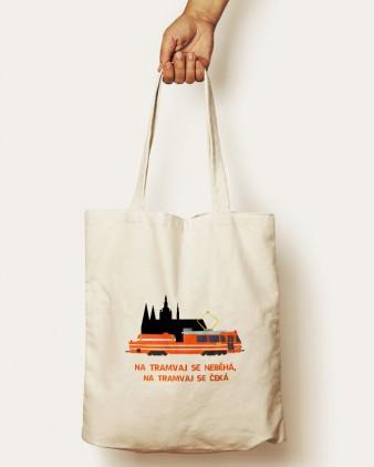 """Bavlněná taška s motivem """"Mazačky"""" a Pražským hradem a nápisem"""