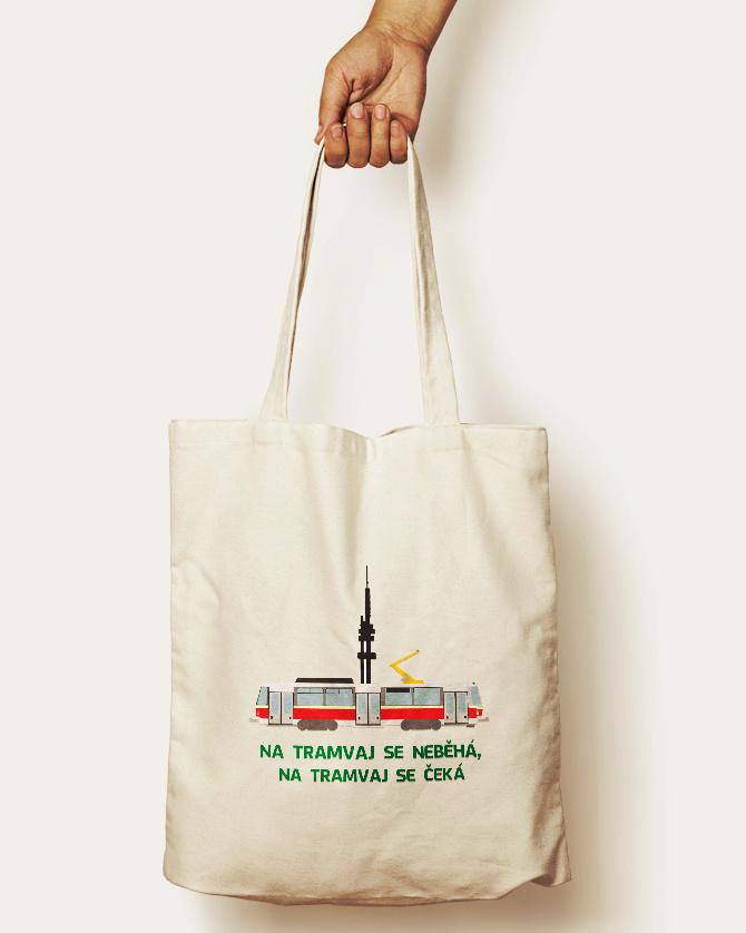 Bavlněná taška s motivem tramvaje T6A5, Žižkovskou věží a nápisem