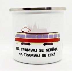 Plecháček s motivem tramvaje T3, Pražského hradu a nápisem