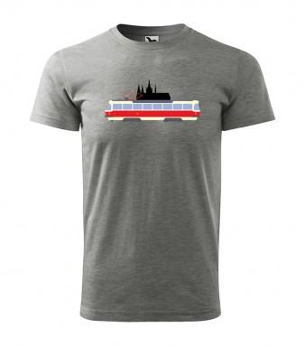 Šedé triko s motivem tramvaje T3 a siluety Pražského hradu