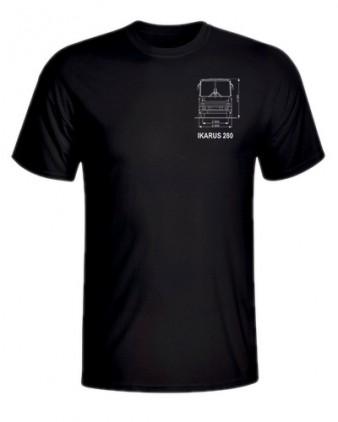 Černé triko s výkresem autobusu Ikarus 280