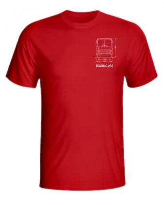 Červené triko s výkresem autobusu Ikarus 280