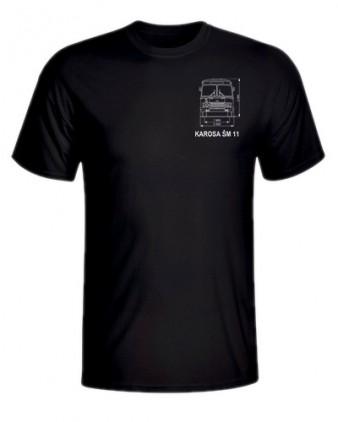 Černé triko s výkresem autobusu Karosa ŠM 11