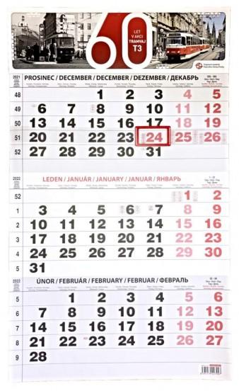 Nástěnný tříměsíční kalendář 2022