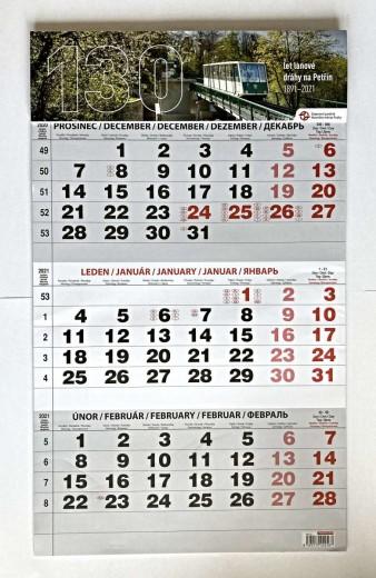 Nástěnný tříměsíční kalendář 2021
