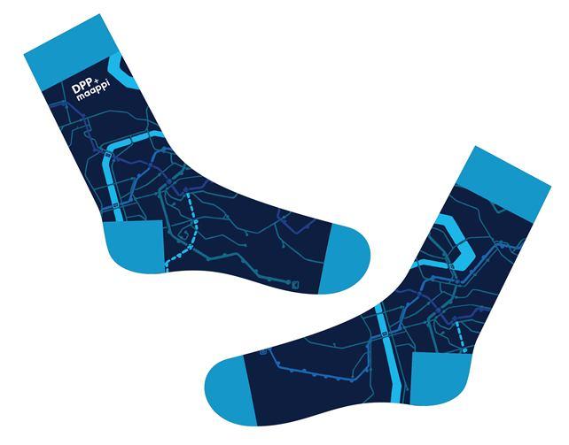 Modré ponožky s motivem linek Maappi pro DPP