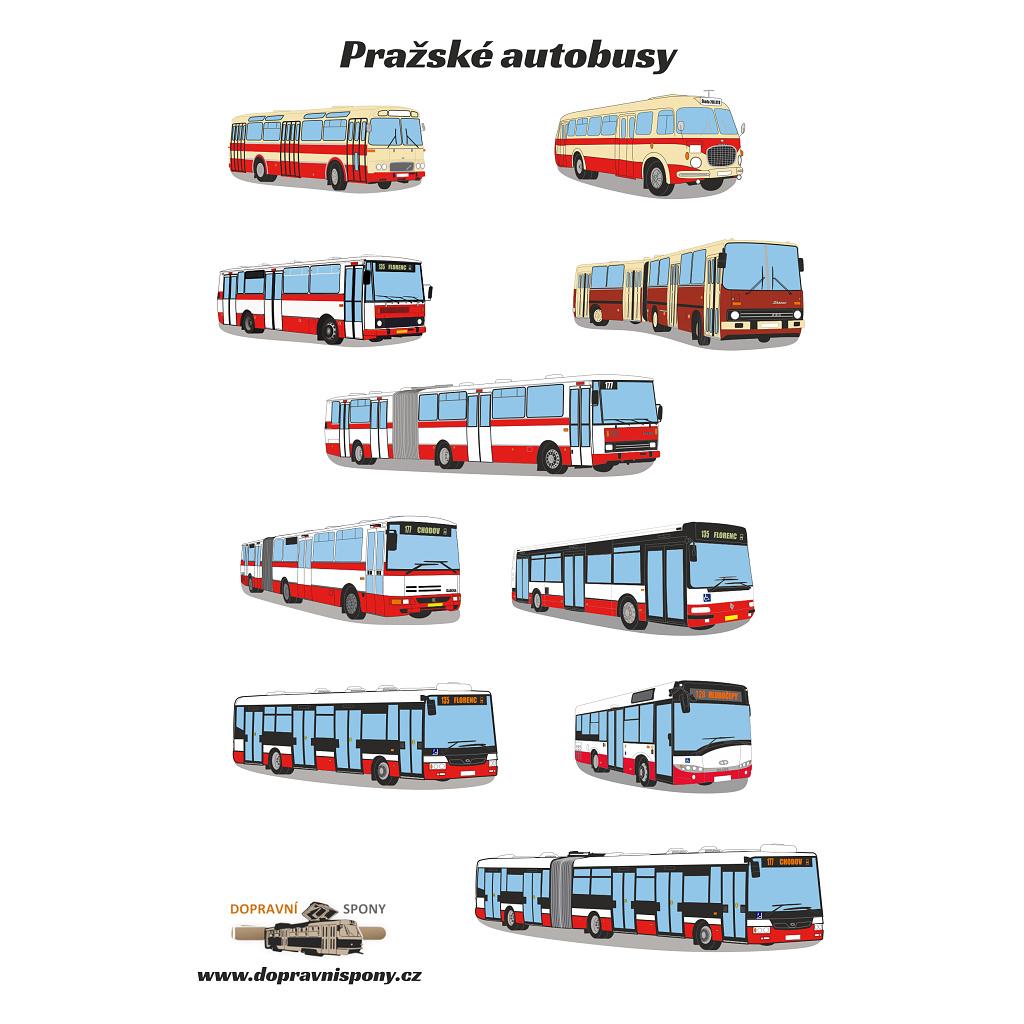 Samolepky pražských autobusů (arch A5)