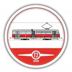 Kulatý červený pivní tácek Tatra T2