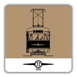 Hranatý hnědý pivní tácek Tatra T2