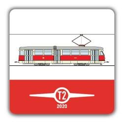 Hranatý červený pivní tácek Tatra T2