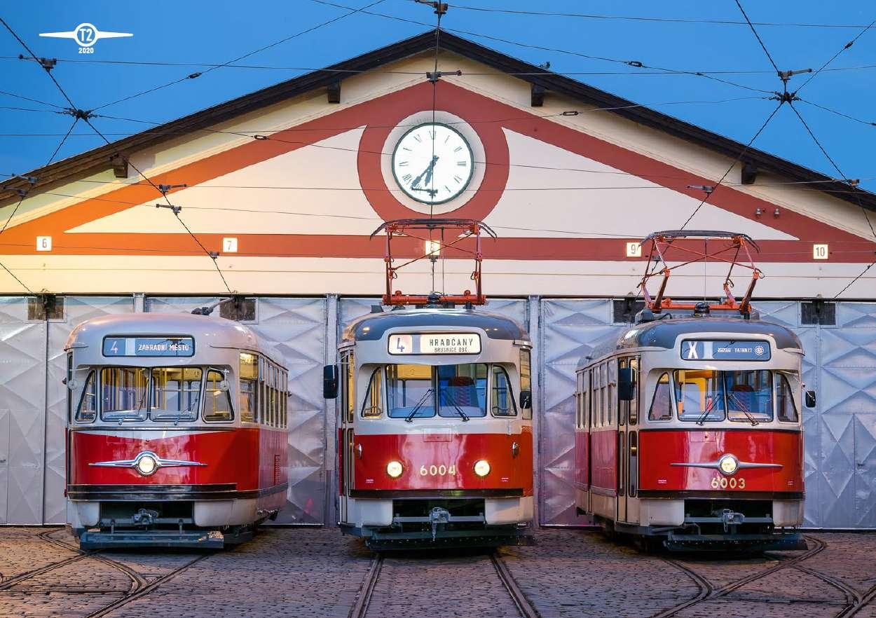 Plakát s fotografií tramvají Tatra T2