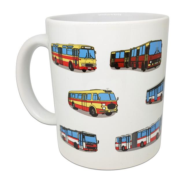 Hrnek s obrázky pražských autobusů