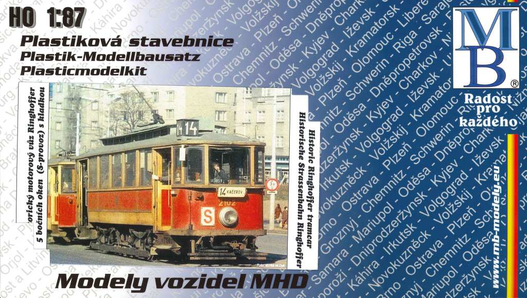 "Stavebnice modelu tramvaje Ringhoffer (5 oken, ""S provoz"") (H0)"