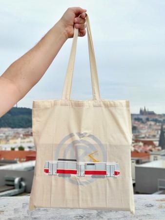 Bavlněná taška s motivem tramvaje T6A5 a logem ČKD