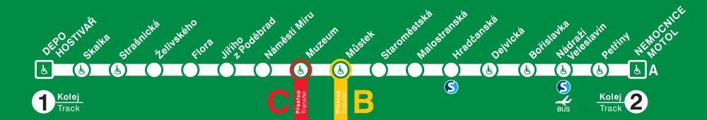 """Schéma trasy metra A """"Teploměr"""" (samolepka)"""