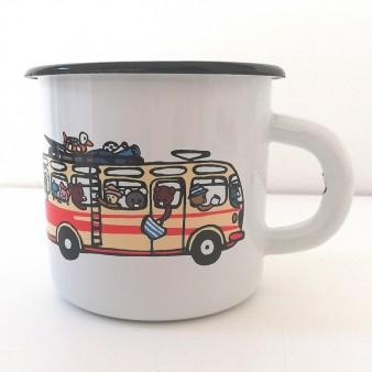 Smaltovaný plecháček s autobusem RTO se zvířátky