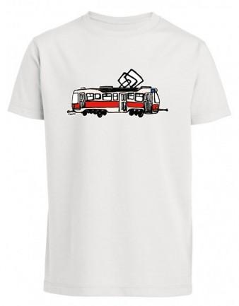 Bílé pánské triko s kreslenou tramvají T3