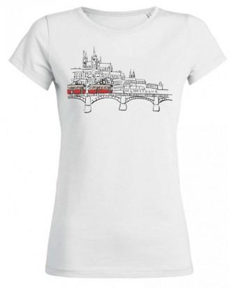 Bílé dámské triko s kreslenou tramvají T3 a Hradčany